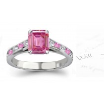 Val d' Arno Gallery: Emerald Cut Ladies Pink Sapphire & White Diamonds Ring