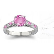 Red Sea Gallery: Round Ladies Pink Sapphire & Diamond Gold Ring 1 to 5 carat weight