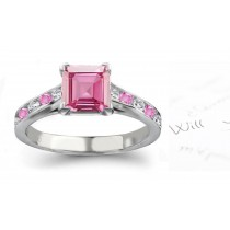 Mediterranean Sea Gallery: Princess Cut Ladies Pink Sapphire & Diamond Ring