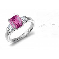 Sea of Satalia Gallery: Emerald Cut Pink Sapphire & Trapezoid White Diamonds Gold Ring