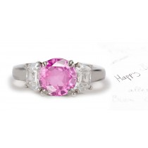 Gualtieri Collection: 3 Stone Round Pink Sapphire & Shield Cut Diamond Ring in Gold
