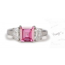 3 Stone Square Rich Pink Sapphire & Shield Cut White Diamonds Ring