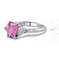 Mount Atlas Gallery: 3 Sone Oval Rich Pink Sapphire & Shield Bullet Diamond Ring