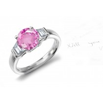 Great Lake Collection: 3 Stone Round Rich Pink Sapphire & Trapezoid Diamond Gold Ring
