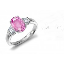 Beating Its Wings: 3 Stone Oval Rich Pink Sapphire & Trapezoid White Diamonds Gold Ring