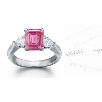 Fiesole Collection: 3 Stone Emerald Cut Pink Sapphire & Pears Diamond Ring