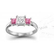 Santa Maria Nuova: 3 Stone Square Rich Pink Sapphire & Princess Cut Diamond Ring