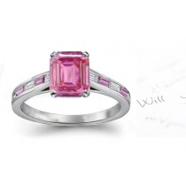 Ponte Rubaconte: Emerald Cut Rich Pink Sapphire & Baguette White Diamonds Ring