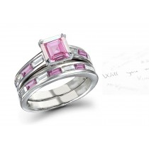 The Swan Lake: Princess Cut Rich Pink Sapphire & Baguette White Diamonds Ring