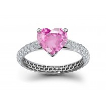 Waterfall Collection: Heart Rich Pink Sapphire & Pave Set Diamond Ring in Platinum & Gold