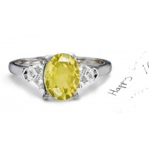 Yellow Sapphire & Fancy Diamond Engagement Ring