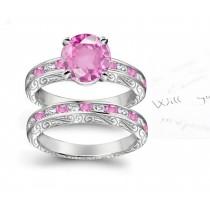 A timeless, design with a deep pink 1.0 carat Splendid Sapphire & halo of well-cut White Diamonds Splendid Sapphires in Platinum & Gold