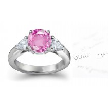 Lively Pink Sapphire & Fancy Diamond Engagement Ring Men's Matching Band Available On Reques
