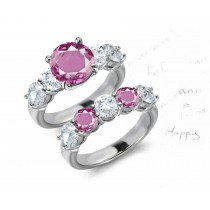 5 Stone Round Pink Noble Sapphire & White Diamond Engagement & Wedding Bridal Set Collection in Platinum & Gold
