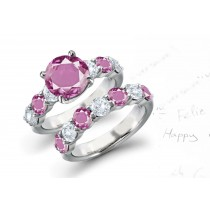 5 Stone Pink Sapphire Diamond Ring Collection for Engeament & Wedding