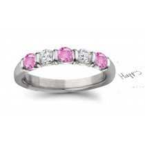 New Arrivals - Women's Pure Pink Sapphire & Diamond Wedding Rings