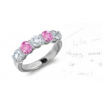 Women's Pure Pink Sapphire & Diamond 5 Stone Bar Set Wedding Rings