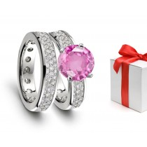 Vivid Pink Sapphire & Diamond Engagement & Wedding Rings Men's Matching Band Available On Request