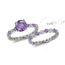 Purple Sapphire & Diamond Engagement & Wedding Rings