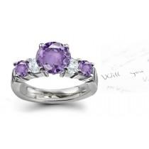 Purple Sapphire & White Diamond Ring