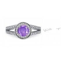 Glowing: Sparkling Purple Sapphire Diamond Ring