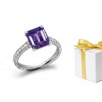 Collectable: Purple Sapphire & White Diamond Micro Pave Ring