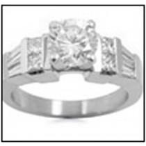 Pre-set Engagement Ring. Engagement Diamond Side Accent Platinum Ring.