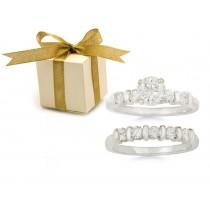 Pre-set Engagement Ring. Engagement Wedding Ring Matching Set.