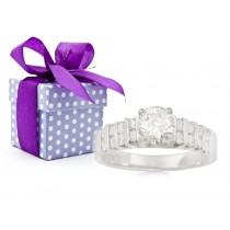 Diamond Side Accent Platinum Engagement Ring.