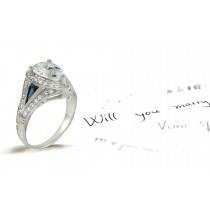 14K White Gold Hand Engraved Filigree Engagement Setting