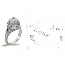 Platinum Hand Engraved Filigree Engagement Ring