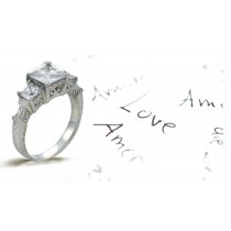 Platinum Hand Engraved Filigree Engagement Setting