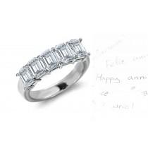 Five Stone Rings: Platinum Emerald Cut Diamond Five Stone Prong Set Diamond Rings