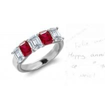 View Ruby Diamond Five Stone Wedding Rings