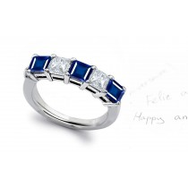 Square Blue Sapphire and Diamond Five-Stone Band Ring in 18k White Gold