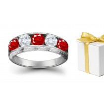 Designer Ruby & Diamond Five Stone Rings
