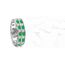 Peculiarly Valuable: New Design! Two Gold Rings with Sparkling & Emerald & Diamond Wedding Eternity Band