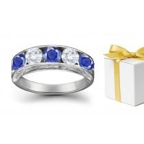 Great Looking Sapphire Diamond Five Stone Rings
