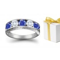 Feeling Special Sapphire Diamond Five Stone Rings