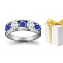 Treat Yourself: Sapphire Diamond Five Stone Rings