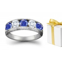 Smiling Faces: Sapphire Diamond Five Stone Rings