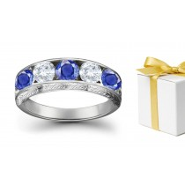 Mesmerizing: Sapphire Diamond Five Stone Rings