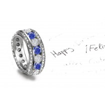 Sparkling Faceted Diamonds & Sapphires are set in middle of the sapphire engagement ring