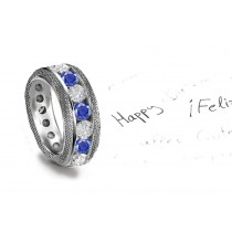 Sparkling Faceted Diamonds Sapphires are set in middle of the sapphire engagement ring.