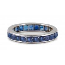 Full Square Sapphire Eternity Gemstone Wedding Band in Platinum & Gold Ring