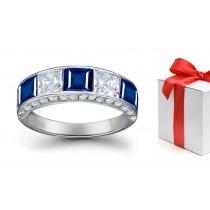 Square Sapphire and Princess Cut Diamond Five Stone Mens Ring
