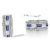 Baguette Sapphire & Diamond Wedding Ring in Gold