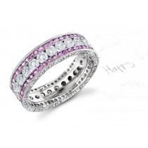 Gold Women's Pink Rich Hue Diamond & Sapphire Engagement Ring