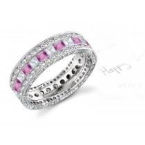Platinum Women's Pink Rich Hue Diamond & Sapphire Engagement Ring