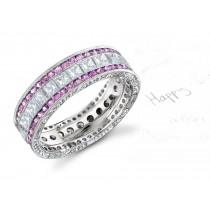 14k Gold Women's Pink Rich Hue Diamond & Sapphire Engagement Ring